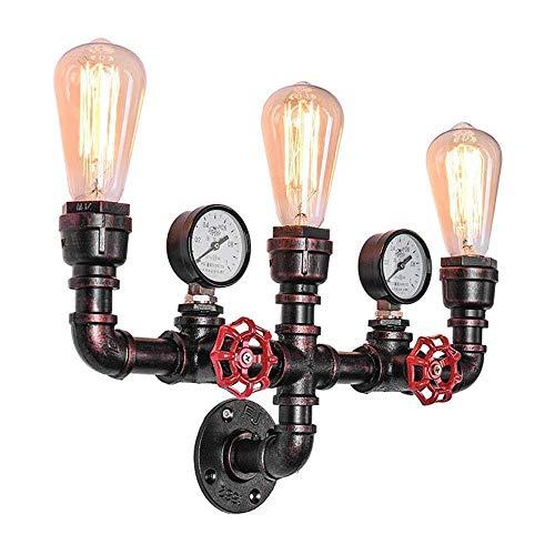 Lonchan - Lámpara de pared antigua, retro, lámpara de pared, estilo industrial, tubo de agua, metal, 3 cabezales, estilo retro