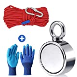 Fishing Magnet with Rope Glove Set, 660LB Pulling Force Super Strong Neodymium Magnet with 64 ft Nylon Rope & Carabiner for Magnet Fishing and Retrieving in River - 60mm Diameter