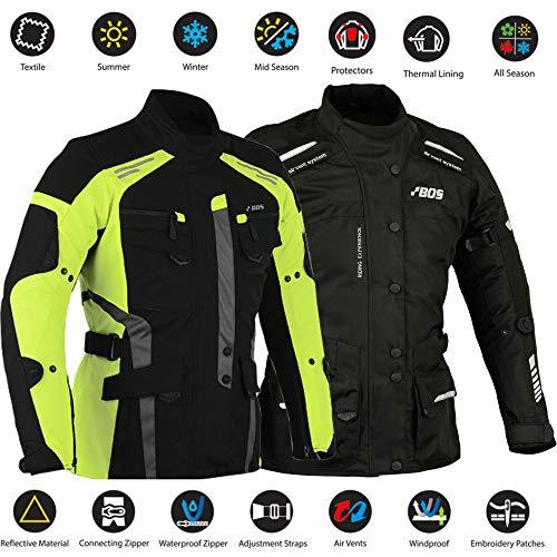 BOSmoto Damen Textil Wasserdicht CE Ruestung Thermofutter Jacke Motorrad Schwarz (M, Neon Gelb)