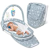 Lil' Jumbl Snuggle Nest Bed, Foldable Baby Travel Bassinet Sleeper, Hanging Toy, Built-in Night Light, Music Player, Pillow, Matters & Carry Handle Included, Comfortable Portable Washable Baby Lounger