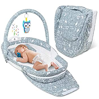 Lil' Jumbl Snuggle Nest Bed Foldable Baby Travel Bassinet Sleeper Hanging Toy Built-in Night Light Music Player Pillow Matters & Carry Handle Included Comfortable Portable Washable Baby Lounger