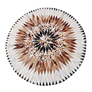 Leah- Cowhide Short-Hair Rug, Round Cowhide Rug, Good Sound Insulation, Suitable for All Kinds of Floors