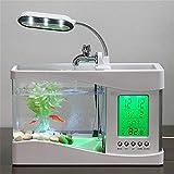 ATC Mini USB LCD Desktop Lamp Fish Tank Aquarium with LED Clock(White)