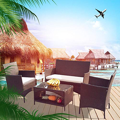 4 Pieces Outdoor Patio Furniture Sets Rattan Chair Wicker Set, Outdoor Indoor Use Backyard Porch Garden Poolside Balcony Furniture Sets