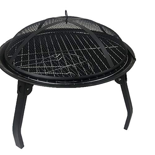 VEDKYY Fire Pits Bowls, for Garde Patio Bbq Large Wood Burning Cast Iron with Grill And Lid, Stand, Outdoor Firepit for Log Burning, 2 in 1, Firepits And Firebowls Heater outside Camping