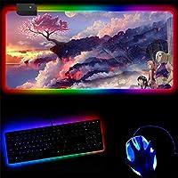 マウスパッド ナルトLEDゲーミングRGBラージゲーマーマウスパッドUSBバックライト付きレインボーラバーコンピューターマットキーボードデスクパッド 30x40cm