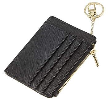 Sodsay Card Case Slim Front Pocket Wallet for Women Credit Card Holder with Keychain CH Black