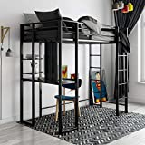 DHP Abode Metal Frame With Desk And Ladder, Full, Black 1 Loft Bed, Twin