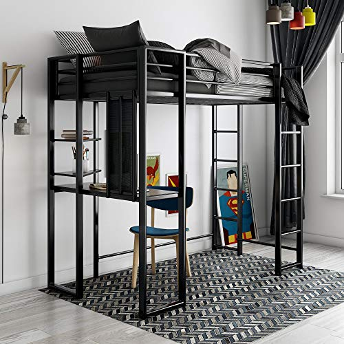 DHP Abode Twin Size Metal, Black Loft Bed