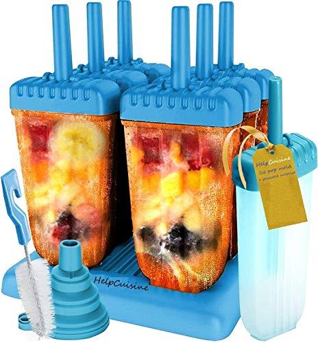 HelpCuisine® EIS am Stiel Bereiter, für Kinder, 6 Stück mit Reinigungsbürste & Falttrichter (Blau)