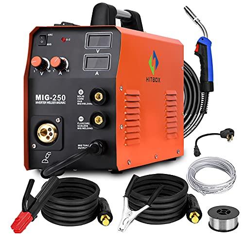 HITBOX新着ミグ溶接機MIG250ミグチグアーク溶接機ガスガスレス溶接機110V 220Vデュアル電圧ミグ溶接機3 in 1