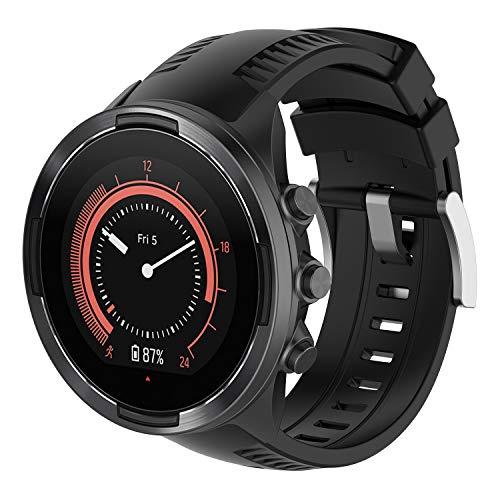 Pwkutn - Correa de silicona para reloj Suunto 7 y Suunto 9 y Suunto Spartan Sport Wrist HR/Baro Smart Watch negro