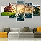 HD imprime imágenes modernas lienzo 5 piezas chica vela kayak piragüismo deportes cartel pintura para sala arte de la pared decorativa