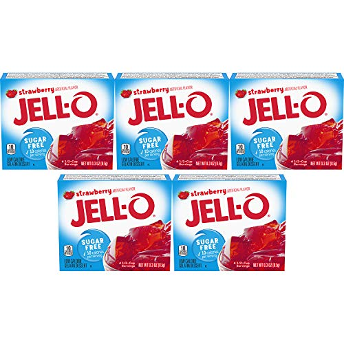 Jell-O Strawberry Sugar-Free Gelatin, 0.30 Ounce (8.5g), (Pack of 5)