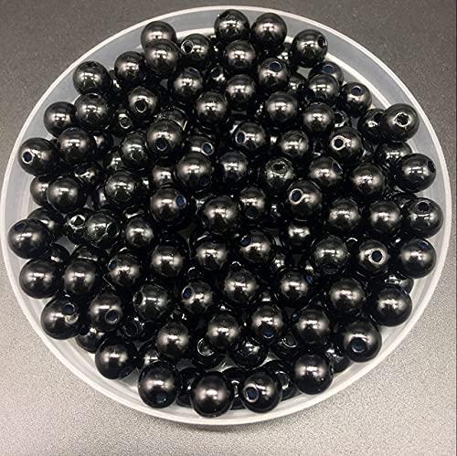 4 6 8 10 mm Perlas de imitación Acrílico Perlas redondas Espaciador Perlas sueltas DIY Fabricación de joyas Collar Pulsera Pendientes Accesorios-Negro, 8 mm 50 piezas