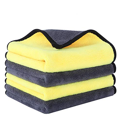 """Multipurpose Microfiber Cleaning Cloths CHARS Super Absorbent Reusable Cleaning Towels for House, Kitchen, Car(4 Pack, 16"""" x 16"""" )"""