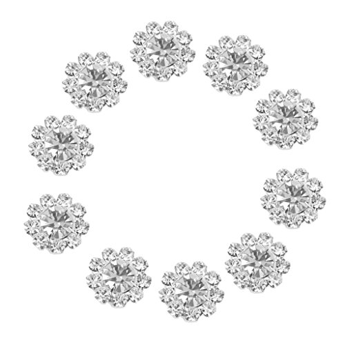 10pcs Claros Botones De Cristal De Flores Decoracion Flatback Bricolaje 12mm