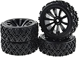 JIUWU 4 x Off-Road Wheels 12MM Hex Tires Crossing Tyre for RC 1:10 Cars Black