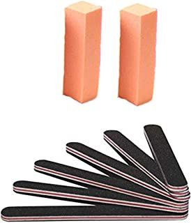 Haobase Nail Files and Buffer, Professional Manicure Tools Kit Rectangular Art Care Buffer Block Tools 100/180 Grit 8Pcs/Pack