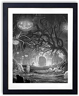 SHADENOV Black Wood Framed Wall Art - Halloween Holiday Castle Gates Graves Bats Night Darkness Fear Pumpkin - Art Print Pictures For Wall Decoration 16x24 Inches (Black and White)