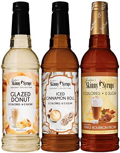 Jordan's Skinny Syrups Sugar Free Dessert Trio, Glazed Donut, Cinnamon Roll, and Maple Bourbon Pecan