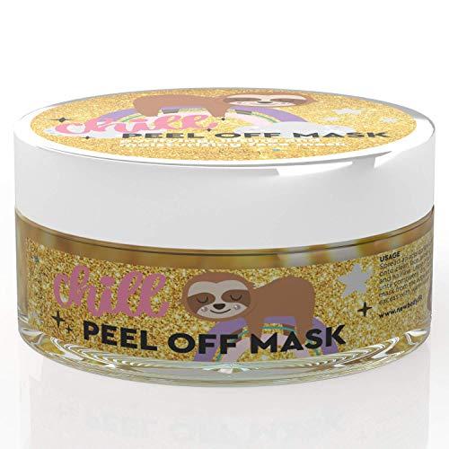 Sloth Mask - Faultier Maske - Chill wie ein Faultier mit der goldene Glitzer-Gesichtsmaske für schöne Haut. Die Anti Mitesser Peel off Mask spendet Feuchtigkeit & entfernt Unreinheiten.