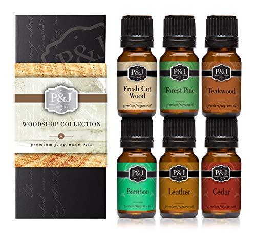 Woodshop Set of 6 Premium Grade Fragrance Oils - Forest Pine, Fresh Cut Wood, Leather, Teakwood, Bamboo, Cedar