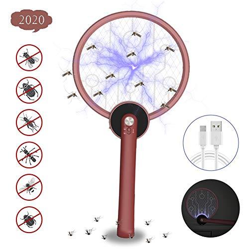 LWWOZL Fliegenklatsche Elektrisch Insekten Mörder USB Wiederaufladbar Klappbar Mückenklatsche 3-Schicht Mesh Schutz Fliegenfänger für Drinnen und DraußenRed