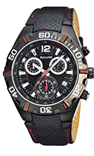 Accurist Men's Quartz Watch with Chronograph Display and Black Leather Strap (B01JOQBTR8) | Amazon price tracker / tracking, Amazon price history charts, Amazon price watches, Amazon price drop alerts