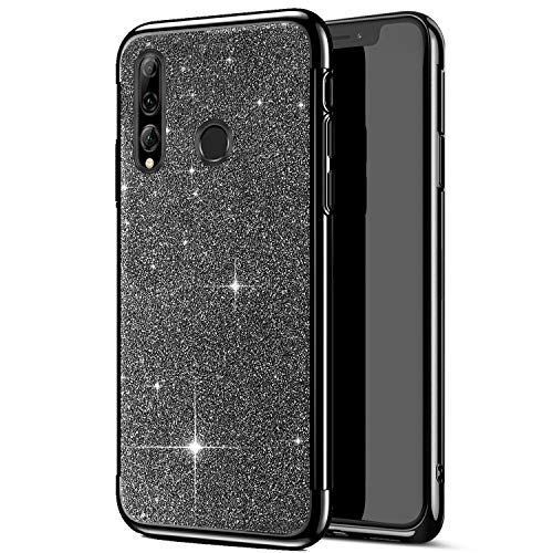 Uposao Kompatibel mit Huawei P Smart Plus 2019 Hülle Strass Bling Glänzend Glitzer Silikon Schutzhülle Transparent Überzug Bumper Crystal Clear TPU Handyhülle Durchsichtige Handytasche,Schwarz