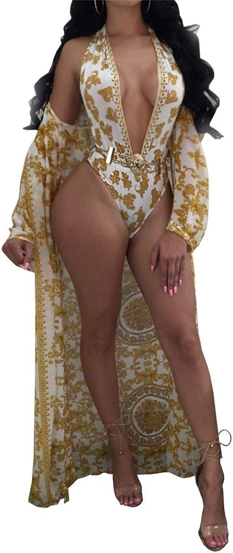 Women's Printed Long Split Sleeve Beach Beachwear Bikini Swimsuit Cover up Dress