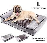 Pecute Camas para Perros Grandes, Colchón Perro Lavable Suave, 102X69X20cm Almohadas para Camas para Perros Gris (L, Gris)