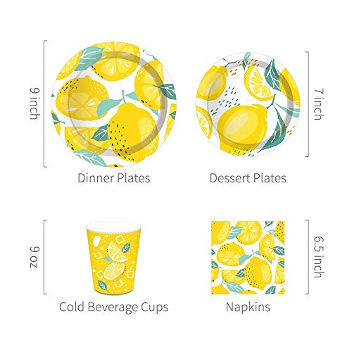 Lemon Party Supplies,Lemon Birthday Decorations Set Includes Disposable Dinner Plates, Dessert Plates,Cups, Napkins, Straw,Serves 16 Guests,113PCS
