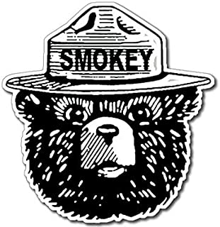 Magnet 4x4 inch Black and White Smokey Bear Face Shaped Sticker (Smoke fire Forest) Magnetic Magnet Vinyl Sticker