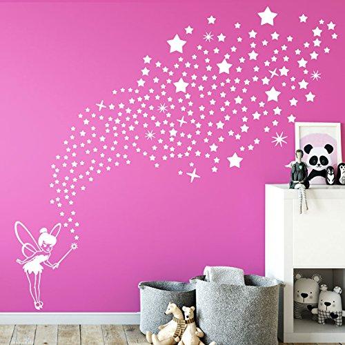 Grandora W5435 Wandtattoo Wandaufkleber Fee mit 266 Sternen Kinderzimmer Mädchen Traum weiß
