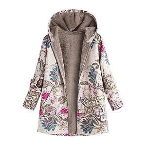 VJGOAL Para Mujer de Invierno más el tamaño de la Moda Casual Warm Thicken Outwear Estampado Floral Bolsillos con Capucha Vintage Abrigos de Gran tamaño(Large,Rosa Caliente)