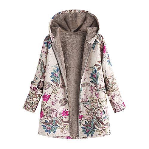 Donna Elegante Giacca con Cappuccio Stampa Floreale Vintage Cappotti Autunno Inverno Cardigan Casuale Moda Manica Lunga Coat Parka Oversize (L,1- Rosa Caldo)