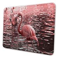 マウスパッド ゲーミングマウスパッド-ピンクのフラミンゴが水中写真で水遊び 滑り止め デスクマット 水洗い 25x30cm