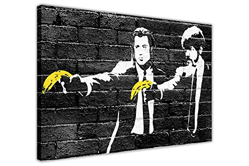 BANKSY PULP FICTION YELLOW BANANAS CANVAS PRINTS WALL ART PICTURES ROOM DECORATION POSTER BLACK PRINT