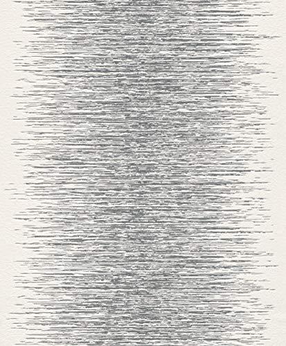 rasch Tapete 413809 – weiße Vliestapete in 3D-Optik mit feinen Linien im metallischen Silber und Grau – 10,05m x 53cm (L x B)