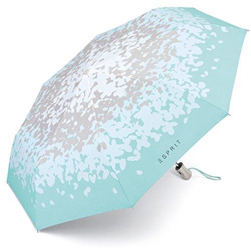 Esprit Damen Taschenschirm Easymatic mit Auf-Zu Automatik - Butterfly kiss Aqua-grau