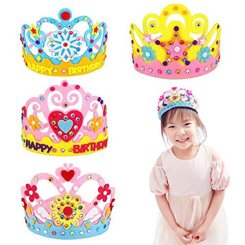 Xiangmall 4 Piezas Corona Cumpleaños Niños Diy Fieltro Sombreros Fiesta Niña Kit de Regalo para Niños Cumpleaños de Niños