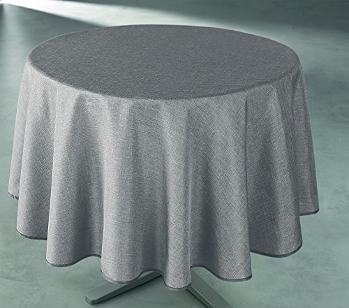 UNIVERS-DECOR Nappe Unie et imprimée Ronde 160 cm antitaches (Taupe)