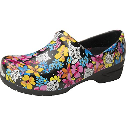 Anywear SRANGEL Women#039s Healthcare Professional Closed Back Plastic Clog 9 Fine Feathered Friends