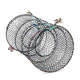 FGASAD - Trampa de pesca plegable, portátil, para cangrejo, cangrejo, cangrejo, cangrejo, cangrejo, cebo, pez, cangrejo, langosta, peces, camarones, nailon, como en la imagen, 40*80cm