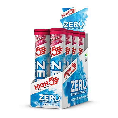 HIGH5 ZERO Electrolyte Hydration Tablets Added Vitamin C, Berry, Pack of 8 x 20 Tubes