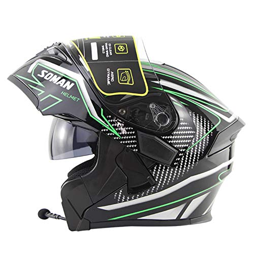 Motocicleta Flip-Up Front Helmet Full Face Bluetooth Motorcycle Scap Modular Flip-Up Casco Manos Libres Casco Sin Ruido C-Medium