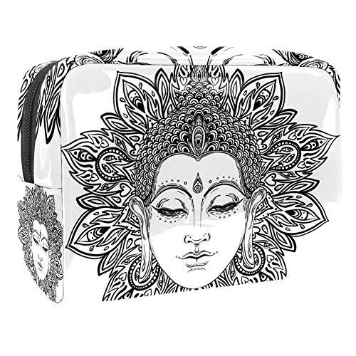TIZORAX Kosmetiktasche mit Buddha-Profil, PVC, Make-up-Tasche, Reise-Toilettenartikel, praktischer Beutel, Organizer für Frauen