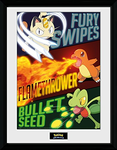 GB Eye Pokémon Moves Gerahmter Fotodruck, Mehrfarbig, 30x 40cm