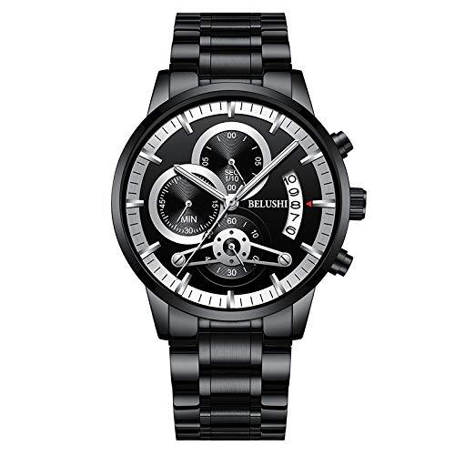 Reloj De Cuarzo Impermeable Luminoso De Negocios De Otoño con Cronógrafo De Seis Manos con Banda De Acero para Hombre Cinturón de Acero de Clavo Plateado de Superficie Negra Concha Negra